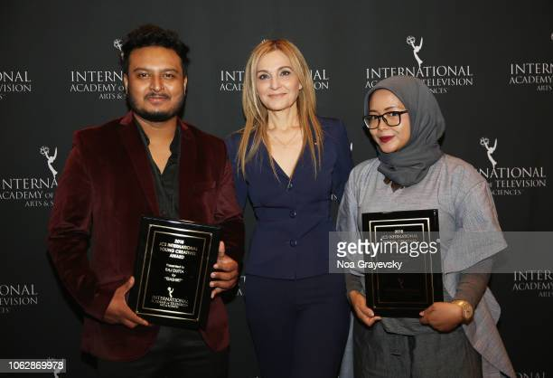 International President Michal Grayevsky poses with YCA Winners Raj Dutta and Puti Puar during the Young Creatives Awards Ceremony on November 16...