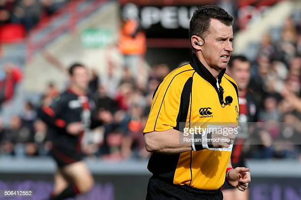 International referee Nigel Owens looks on during the European Rugby Champions Cup match between Toulouse and Saracens at stade Ernest Wallon on...