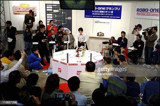 International Robot Exhibition In Tokyo, Japan On November 22, 2003 Robo-One biped robot entertainment - Fighting robot contest in Tokyo.