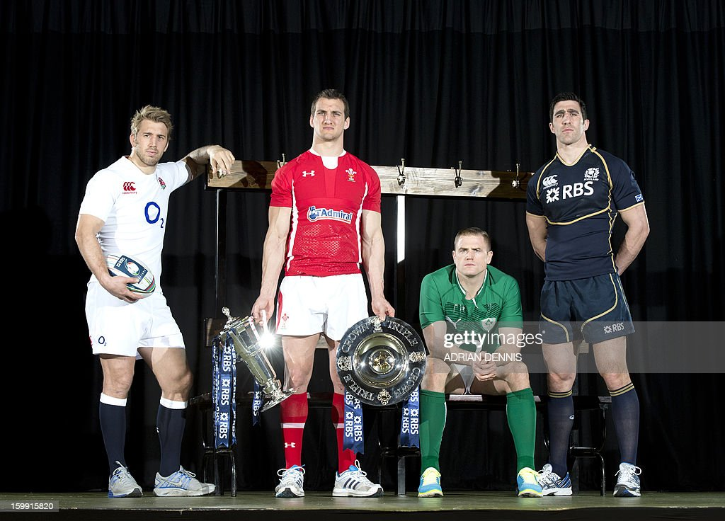International rugby captains (from L-R) England's Chris Robshaw, Wales' Sam Warburton, Ireland's Jamie Heaslip and Scotlands' Kelly Brown pose for pictures during the official launch of the 2013 Six Nations International rugby tournament at the Hurlingham Club in London on January 23, 2013. The tournament kicks-off February 2 with Wales versus Ireland.