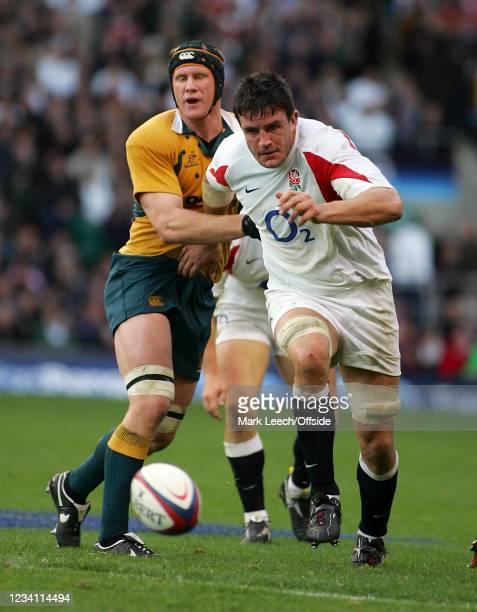 International Rugby, England v Australia, Martin Corry of England kicks the ball forward.
