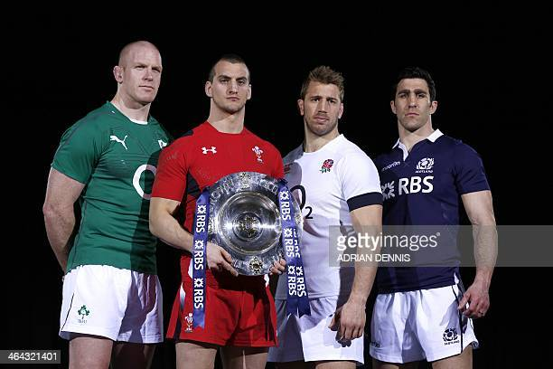 International rugby team captains Ireland's Paul O'Connell Wales's Sam Warburton England's Chris Robshaw and Scotland's Kelly Brown pose with the Six...