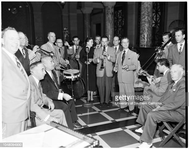 International Salute to Hollywood Bowl preview before city council, 12 September 1951. Ed J Davenport;Harold A Henry;Les Brown;Lucy Ann Polk;Charles...