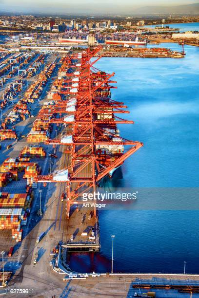 international seaport aerial - commercial dock stock pictures, royalty-free photos & images
