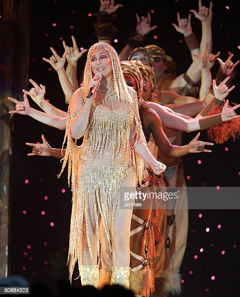 International singer and actress Cher performs on stage during her The Farewell Tour on May 21 2004 in London The concert is one of Cher's final...