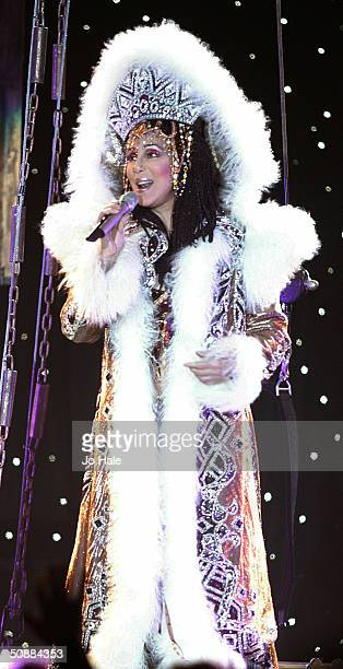 International singer and actress Cher performs on stage during her 'The Farewell Tour' on May 21 2004 in London The concert is one of Cher's final...