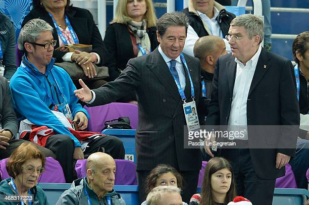 International Skating Union President Ottavio Cinquanta and International Olympic Committee President Thomas Bach attend the Short Track on day 3 of...