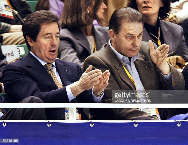 International skating Union president Ottavio Cinquanta and International Olympic Committee president Jacques Rogge watch the Original Dance program...