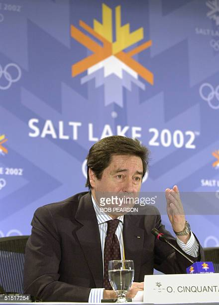 International Skating Union President Ottavio Cinquanta speaks during a press conference at the XIX Winter Olympic Games in Salt Lake City 13...