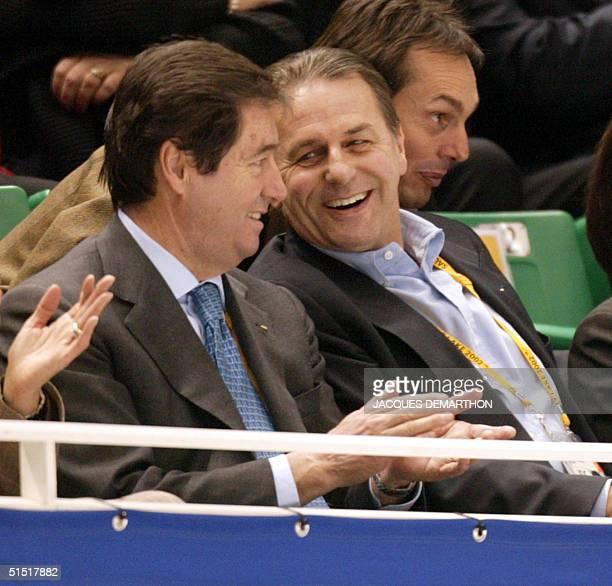 International Skating Union's president Ottavio Cinquanta and International Olympic Committee President Jacques Rogge look on the men's free program...