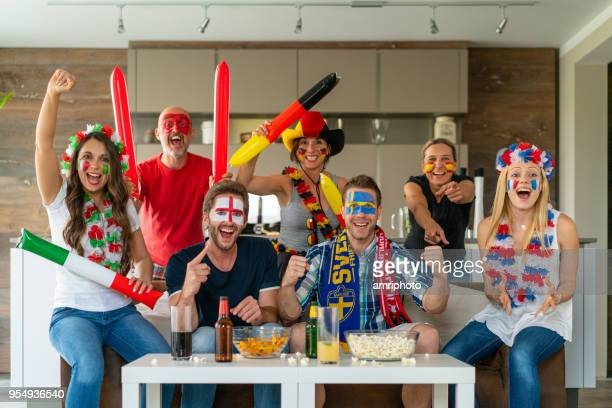 international soccer fans enthusiastic - mens world championship stock photos and pictures