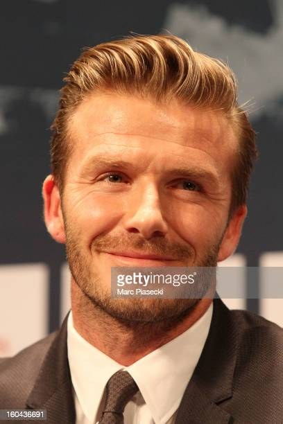 International soccer player David Beckham attends the press conference for his PSG signing at Parc des Princes on January 31 2013 in Paris France