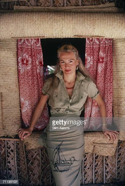 International socialite Countess Donatella Flick visits the Blue Safari Club on Manda Island in the Lamu Archipelago of Kenya February 1987 The club...