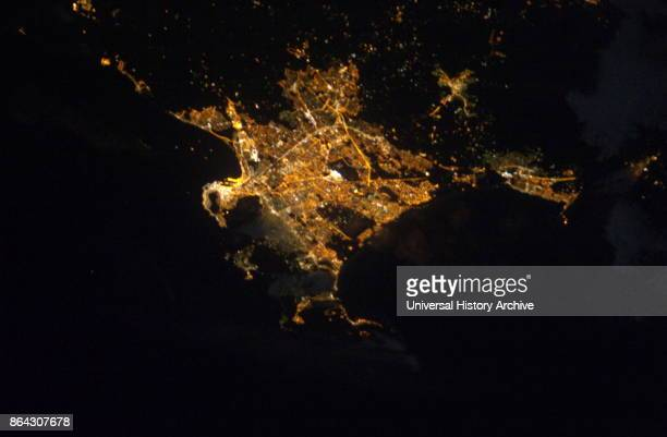 International Space Station view of Cape town from 220 miles above Earth Night image of the southern tip of the African continent featuring Cape town...