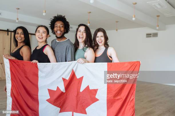 international student on yoga competition - canada day stock pictures, royalty-free photos & images