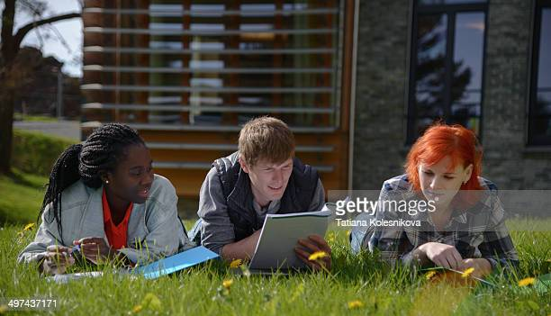International students studying together