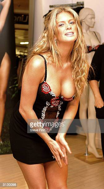 International supermodel and actress Rachel Hunter launches Ultimo's new Spring/Summer '04 collection at Debenhams Oxford Street on March 22 2004 in...