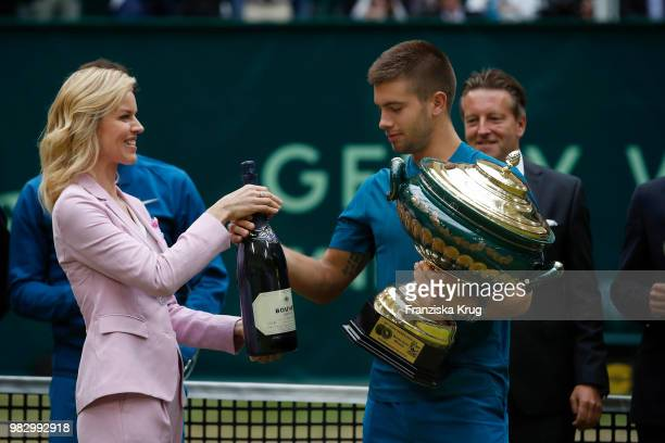 International supermodel Eva Herzigova and tennis player Borna Coric of Croatia attend the Gerry Weber testimonial during the Gerry Weber Open 2018...