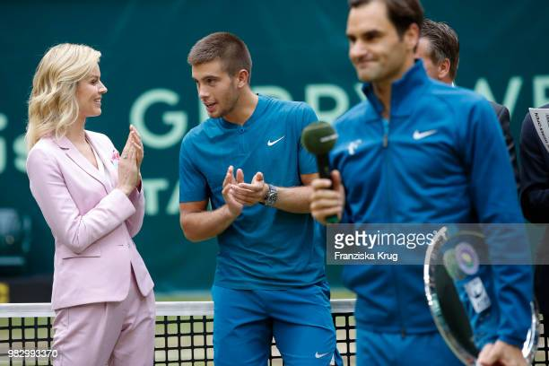 International supermodel Eva Herzigova tennis player Borna Coric of Croatia and tennis player Roger Federer of Switzerland attend the Gerry Weber...