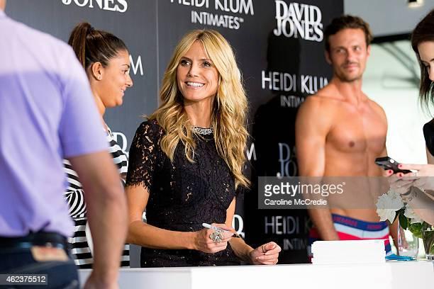 International supermodel Heidi Klum appears in store for a customer signing at David Jones Elizabeth Street Store on January 28 2015 in Sydney...