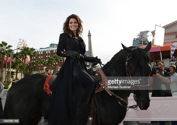 International superstar Shania Twain rides up the Las Vegas Strip on horseback to greet fans on to The Colosseum at Caesars Palace on November 14...