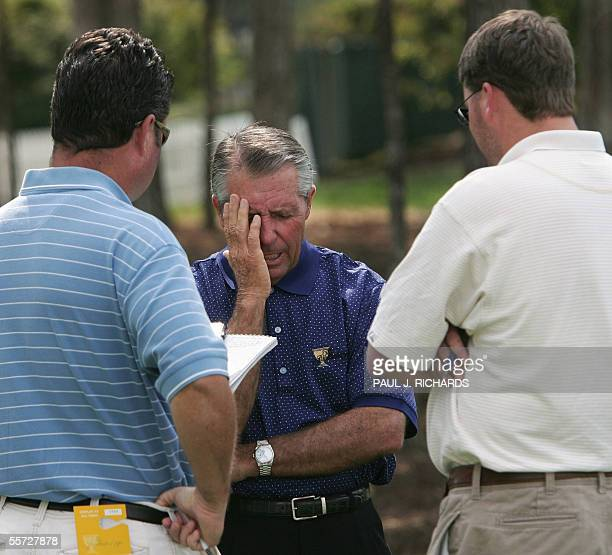 International Team Captain Gary Player talks to reporters 19 September 2005 at the Robert Trent Jones Golf Club in Gainesville, Virginia, three days...