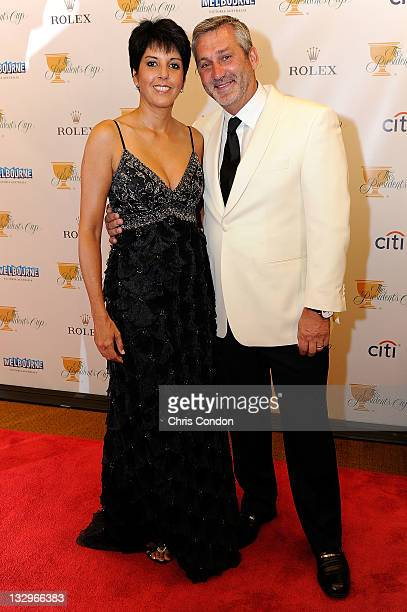 International Team captain's assistant Frank Nobilo and his wife Selena Nobilo arrive on the red carpet at the Gala Celebration for the 2011...