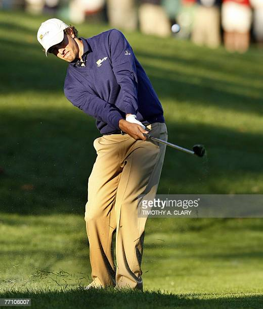 International Team player Adam Scott hits on the 2nd hole during the Foursome Matches of The Presidents Cup 29 September 2007 at The Royal Montreal...