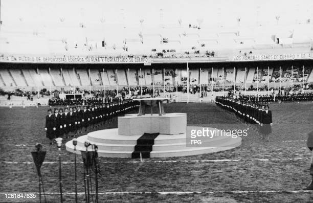 International teams lined up for review at the Estadio Presidente Juan Domingo Peron, during the inauguration ceremony of the 1951 Pan American Games...