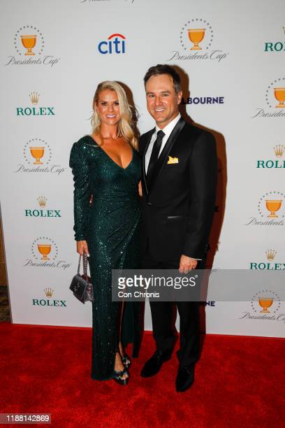 International Team's Trevor Immelman of South Africa and his wife Carminita prior to Presidents Cup at The Royal Melbourne Golf Club on December 10...