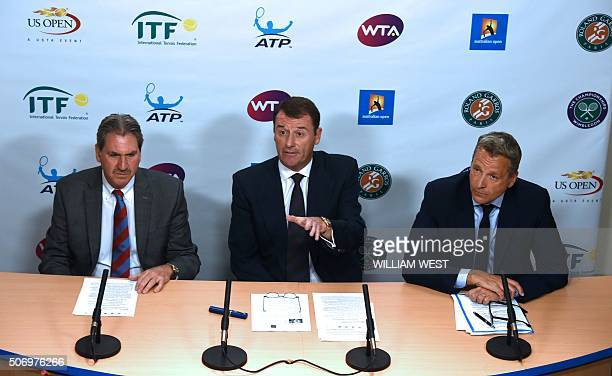 International Tennis Federation President David Haggerty Tennis Integrity Board Chairman Philip Brook and Association of Tennis Professionals...