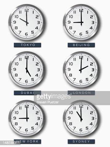International Time Zone Clocks On Wall Stock Photo Getty