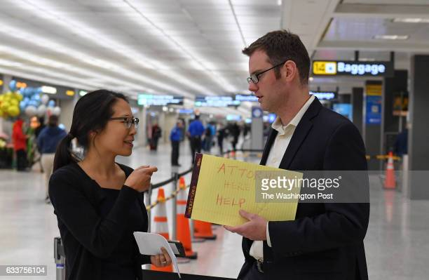 International Trade attorneys Deborah Wei and Sean Carlesimo chat with each other as they wait to lend their legal assistance to any international...