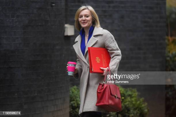 International Trade Secretary Elizabeth Truss arrives for a weekly cabinet meeting at 10 Downing Street on January 14 2020 in London England