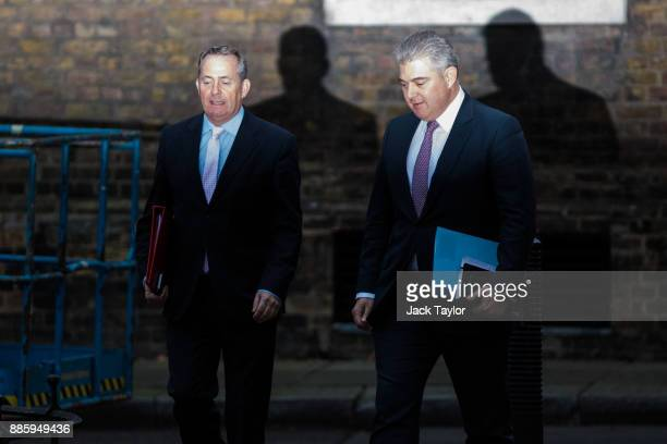 International Trade Secretary Liam Fox and Immigration Secretary Brandon Lewis arrive for the weekly cabinet meeting at Downing Street on December 5...