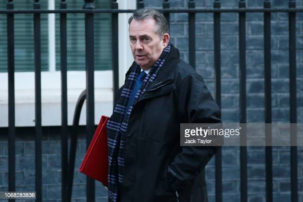 International Trade Secretary Liam Fox arrives at 10 Downing Street as Ministers attend a weekly cabinet meeting ahead of a meaningful vote debate on...