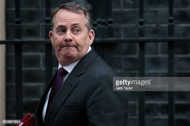International Trade Secretary Liam Fox arrives on Downing Street for the weekly cabinet meeting on February 27 2018 in London England