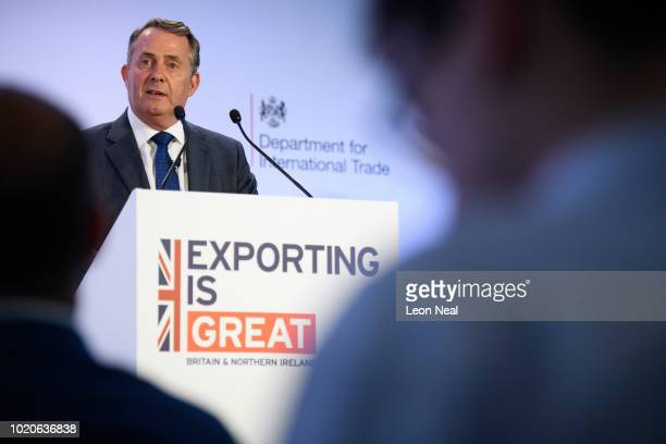 International Trade Secretary Liam Fox delivers a speech on the future of exports from the UK after Brexit on August 21 2018 in London England In...
