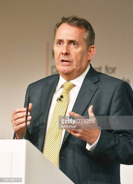 International Trade Secretary Liam Fox speaking at the Royal Society in London where he set out UK's top targets for a trade deal as the Government...