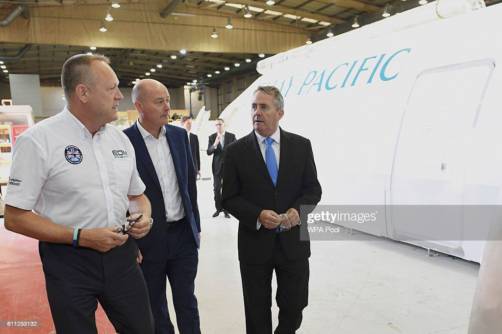 International Trade Secretary Liam Fox visits EDM Ltd in Newton Heath, supplier of training simulators to the civil aviation and defence, September 29, 2016 in Manchester, England.