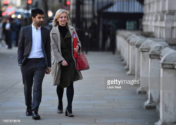 International Trade Secretary Liz Truss arrives at the Cabinet Office after a COBRA meeting ahead of the first daily public updates on March 16 2020...