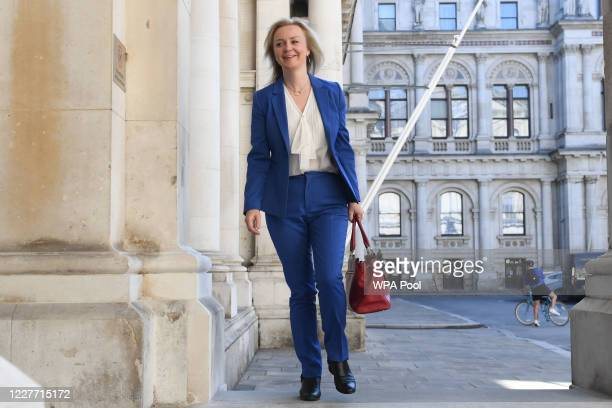 International Trade Secretary Liz Truss arrives at the Foreign and Commonwealth Office in London ahead of a Cabinet meeting to be held at the FCO for...