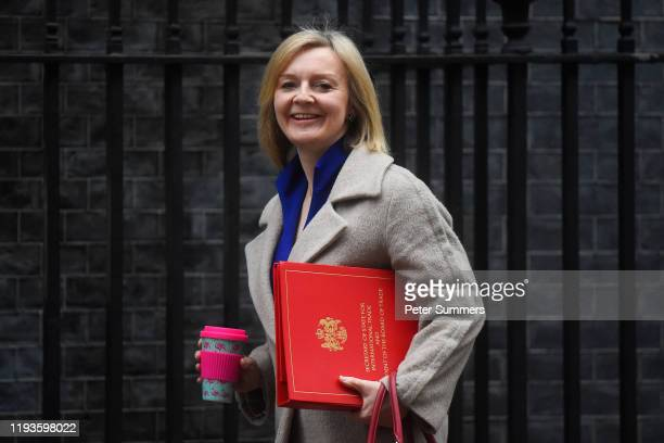 International Trade Secretary Liz Truss arrives for a cabinet meeting at 10 Downing Street on January 14 2020 in London England