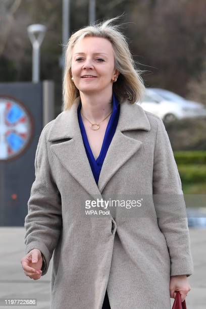 International Trade Secretary Liz Truss arrives to attend a cabinet meeting held at the National Glass Centre at the University of Sunderland on...