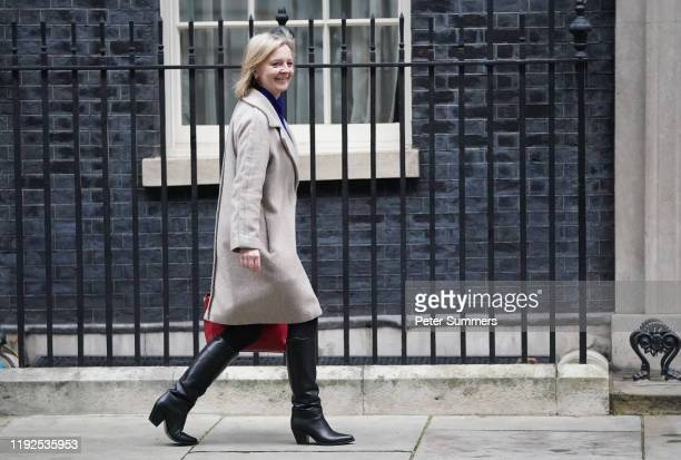International Trade Secretary Liz Truss heads into number 10 Downing Street ahead of the first PMQs after Christmas recess on January 8 2020 in...