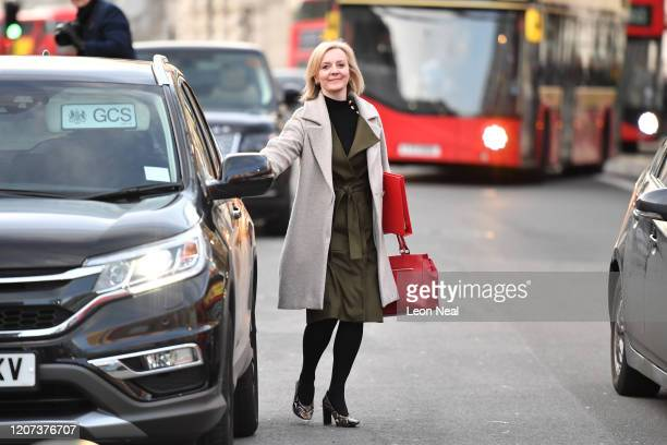 International Trade Secretary Liz Truss leaves the Cabinet Office after a COBRA meeting ahead of the first daily public updates on March 16 2020 in...