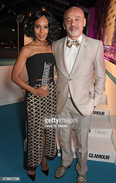 International TV Actress of the Year winner Kerry Washington and presenter Christian Louboutin attend the Glamour Women Of The Year awards at...