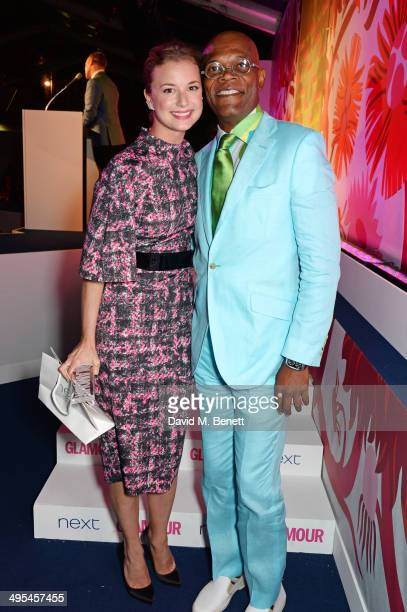 International TV Actress winner Emily VanCamp and Samuel L Jackson pose at the Glamour Women of the Year Awards in Berkeley Square Gardens on June 3...