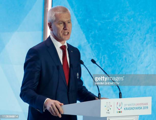 International University Sports Federation President Oleg Matytsin gives a speech during the opening ceremony for the 29th Winter Universiade at the...