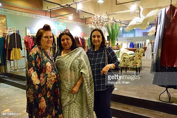 International Vogue Editor Suzy Menkes Anita Lal of Good Earth and Londonbased restaurateur Namita Panjabi at Good Earth Lower Parel on January 6...